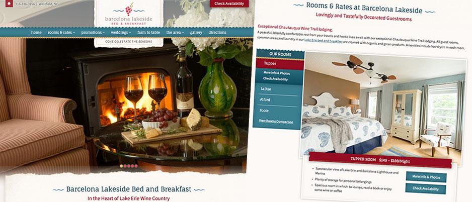Barcelona lakeside bed and breakfast custom website design for Bed and breakfast design