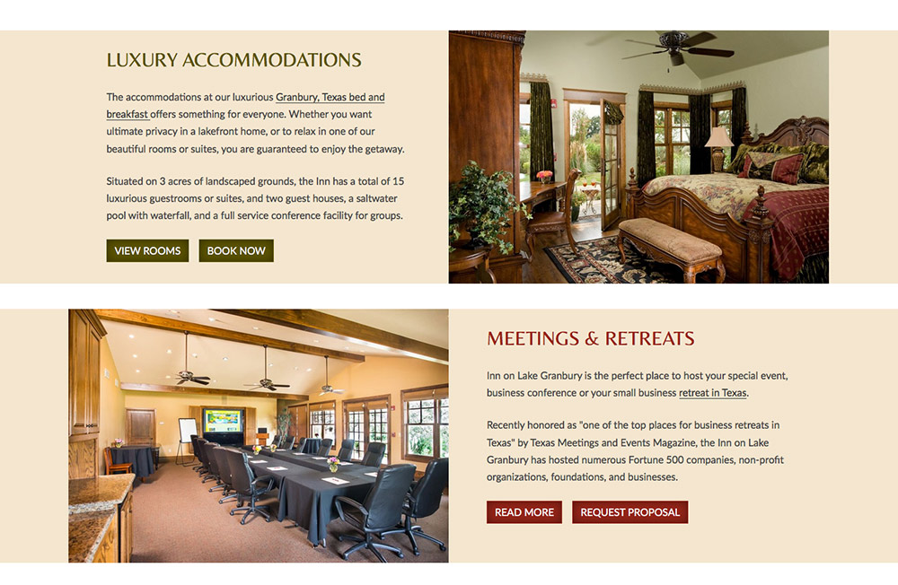 Inn On Lake Granbury Hires White Stone Marketing For Custom Web