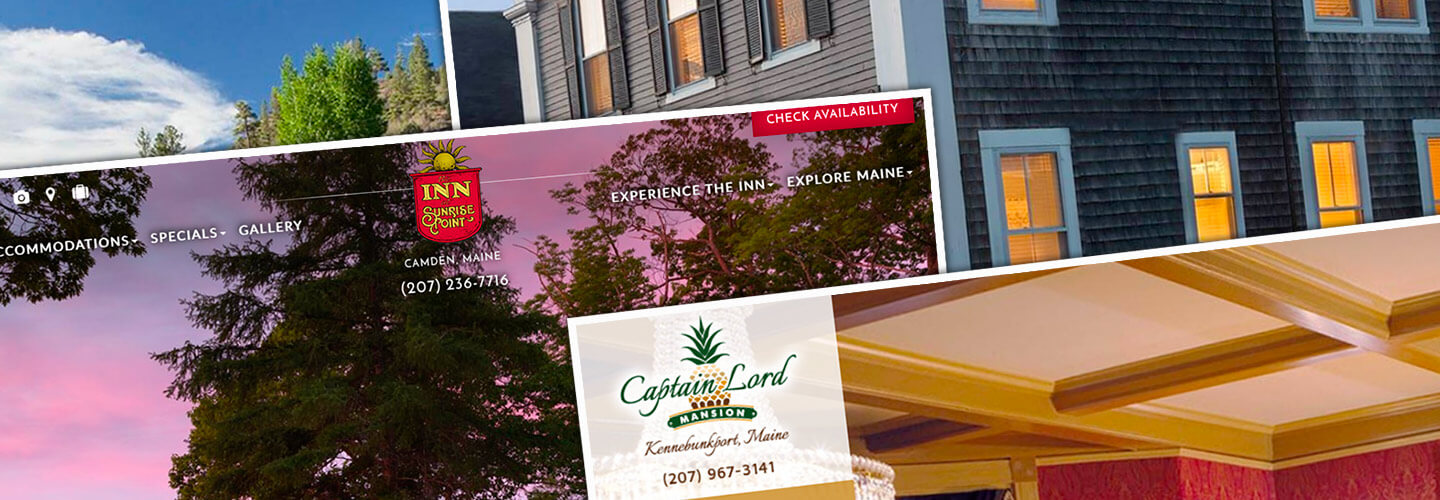 Portfolio of custom website designs for Bed and Breakfasts & Boutique Hotels