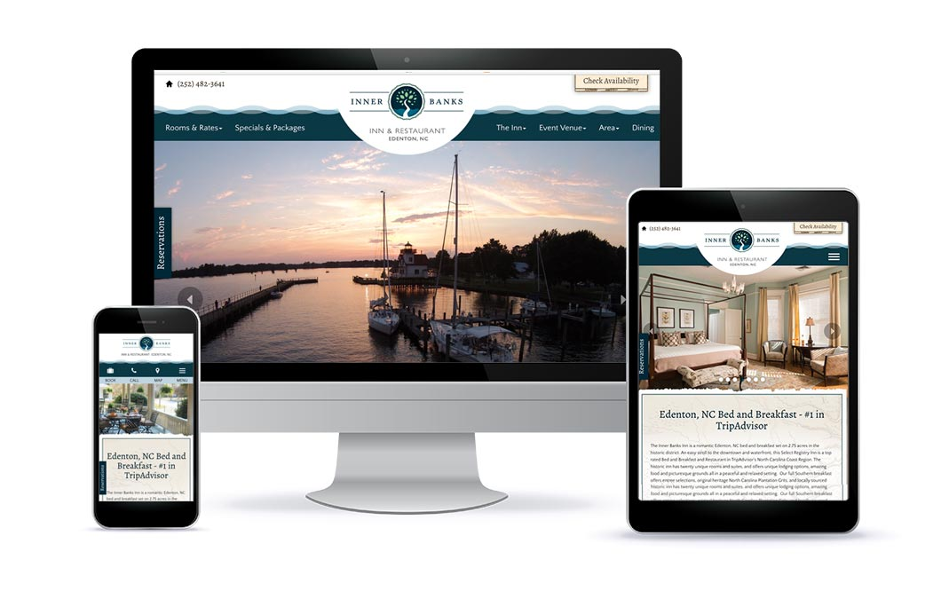 Custom web design for Inner Banks Inn