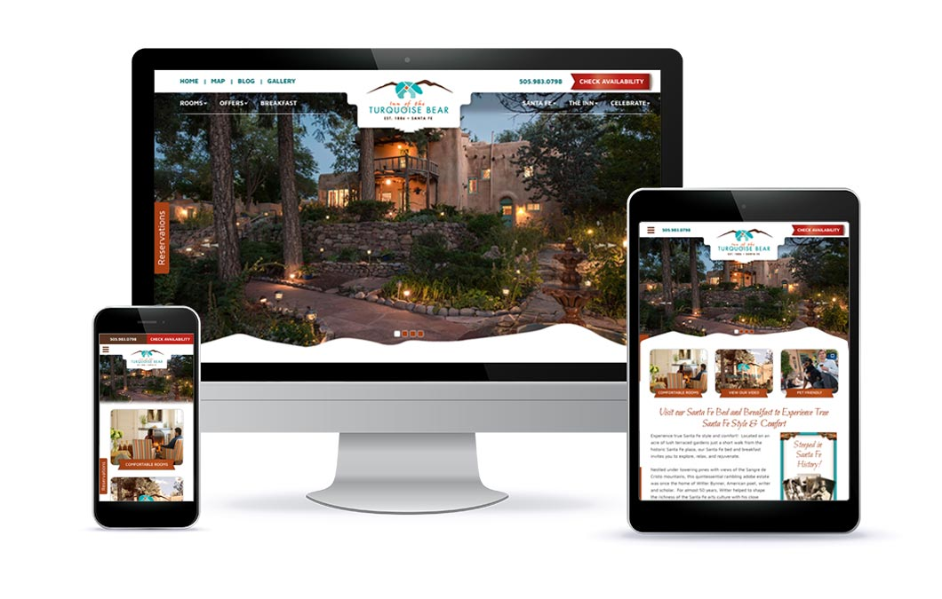 Custom web design for Inn of the Turquoise Bear