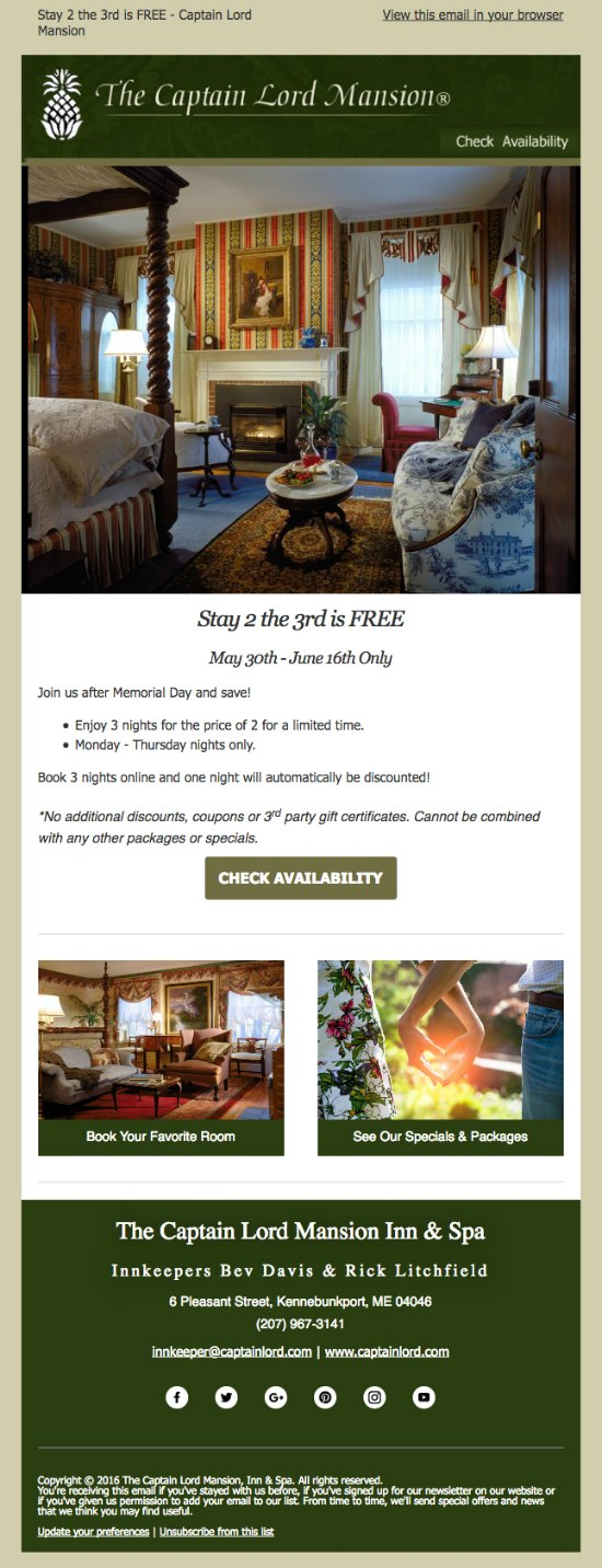 Email Marketing Campaign for a B&B