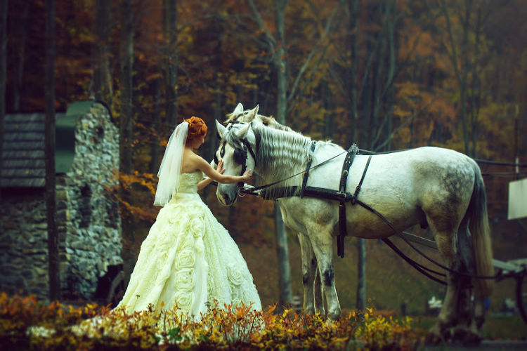 Bride with Horse Fairytale Wedding-2