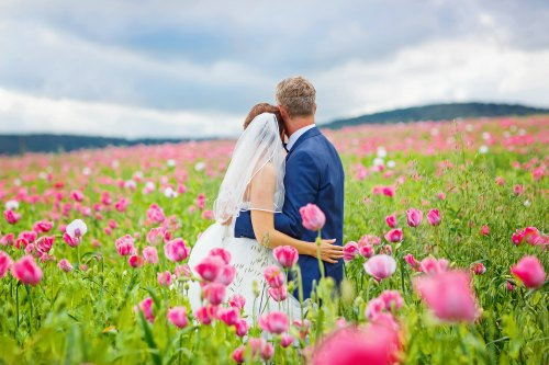 Wedding Venue - Pink Flowers and Bride and Groom
