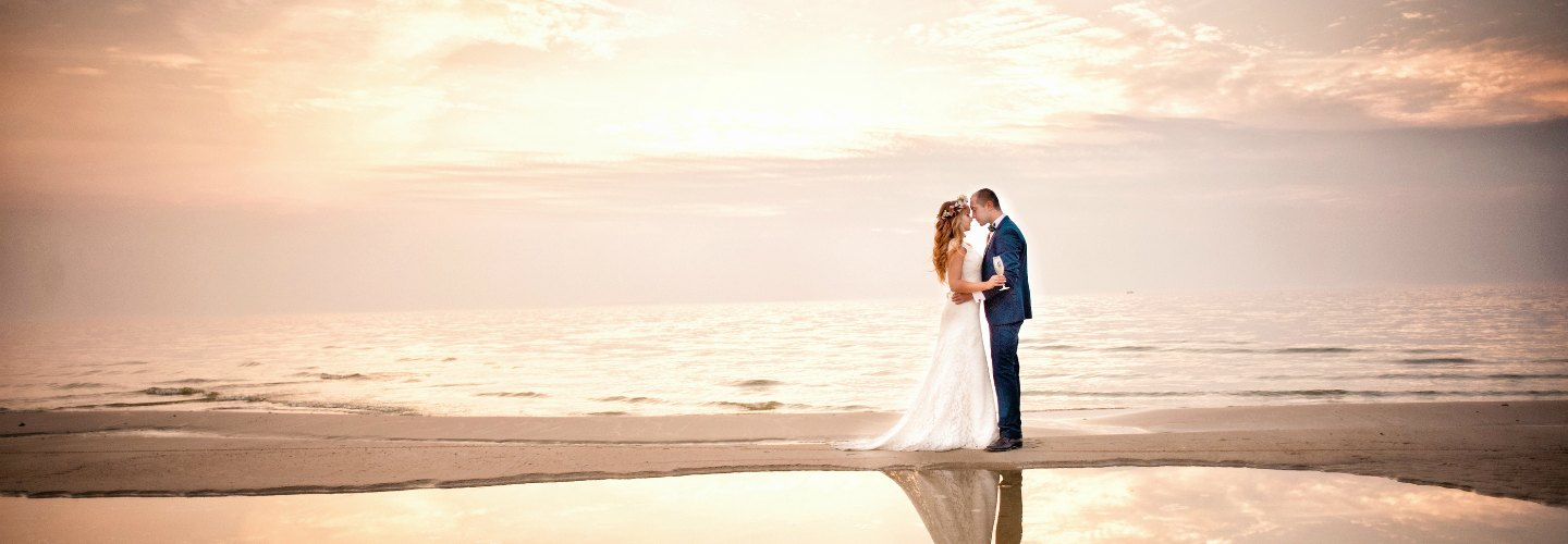 Ocean Wedding - Bride and Groom on the Beach