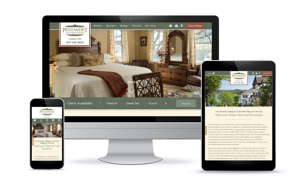 Premium Template Website Design for Pentagoet Inn