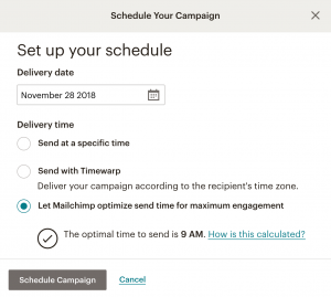 Scheduling on Mailchimp