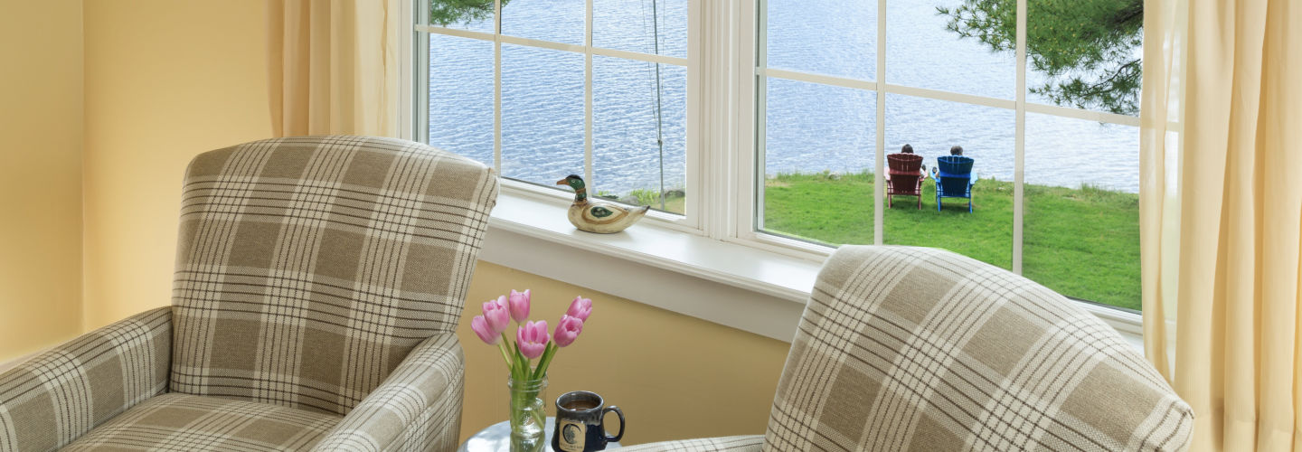 Lakefront Maine B&B - chairs and lake views