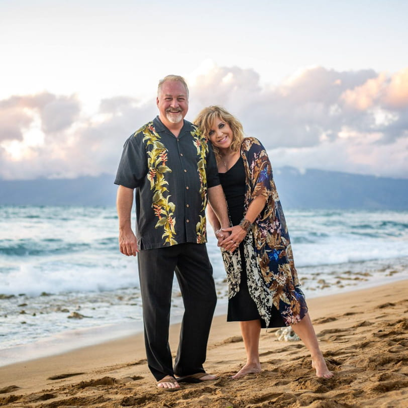 Design and Mareting firm in the Travel Industry - Scott Crumpton and Allison Crumpton on a beach in Hawaii