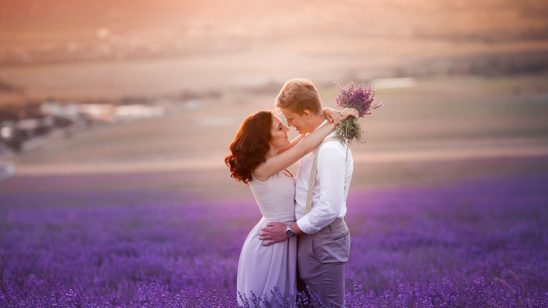 A couple kissing in a field of purple flowers at sunset-tip 6 for wedding marketing