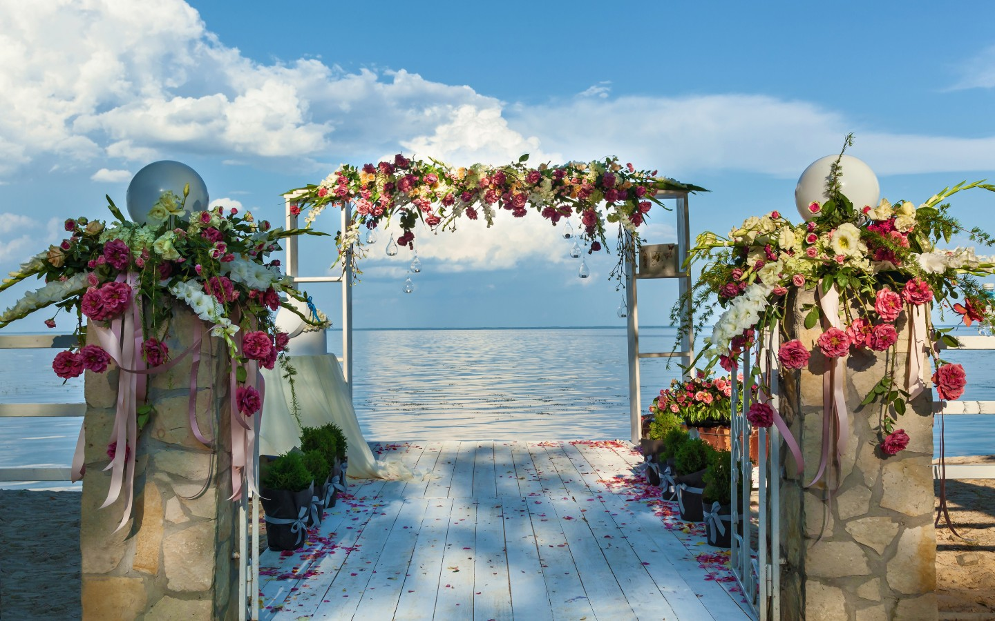 Beautiful wedding venue set up by the water