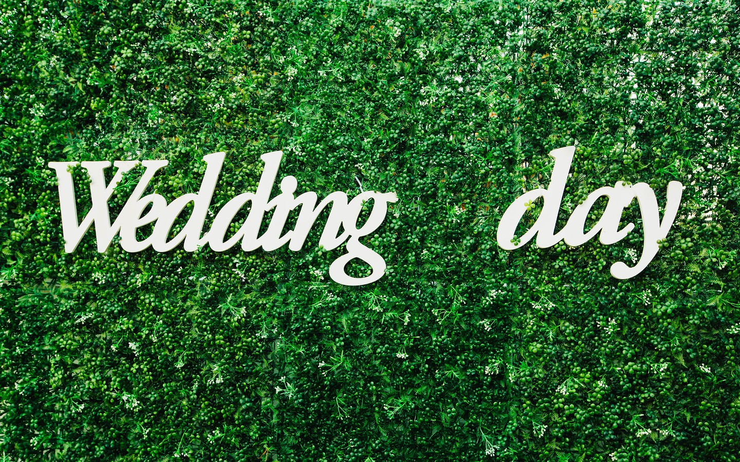 Wooden wedding day sign on lush green backdrop