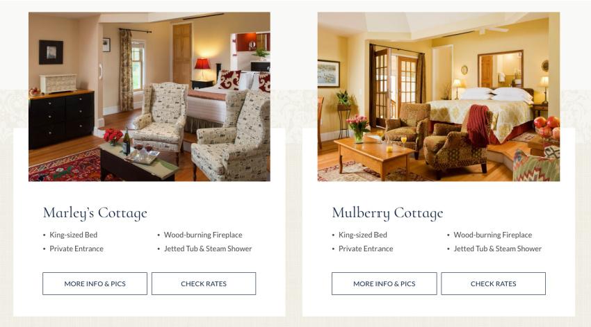 Brampon Inn Bed and Breakfast Website Design - Rooms Layout