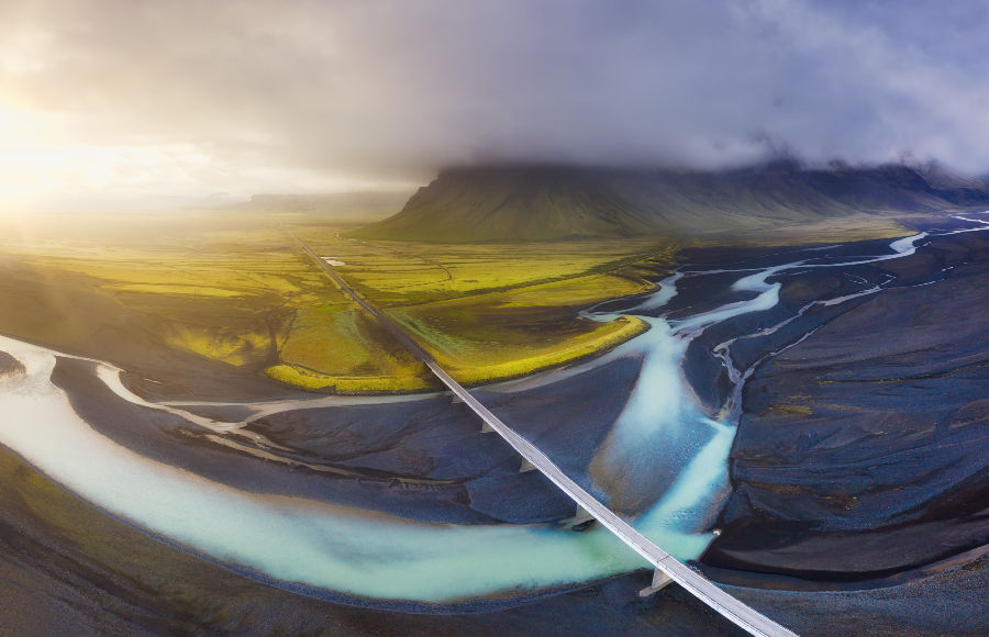 Iceland Ariel view and Bridge