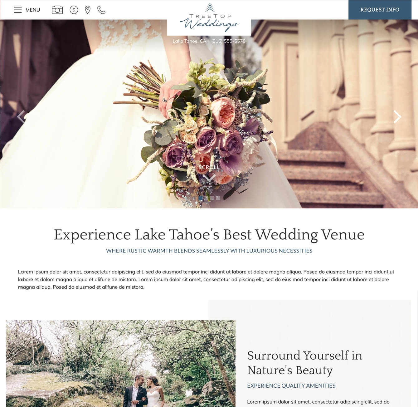 Web design sample for White Stone Signature Wedding design