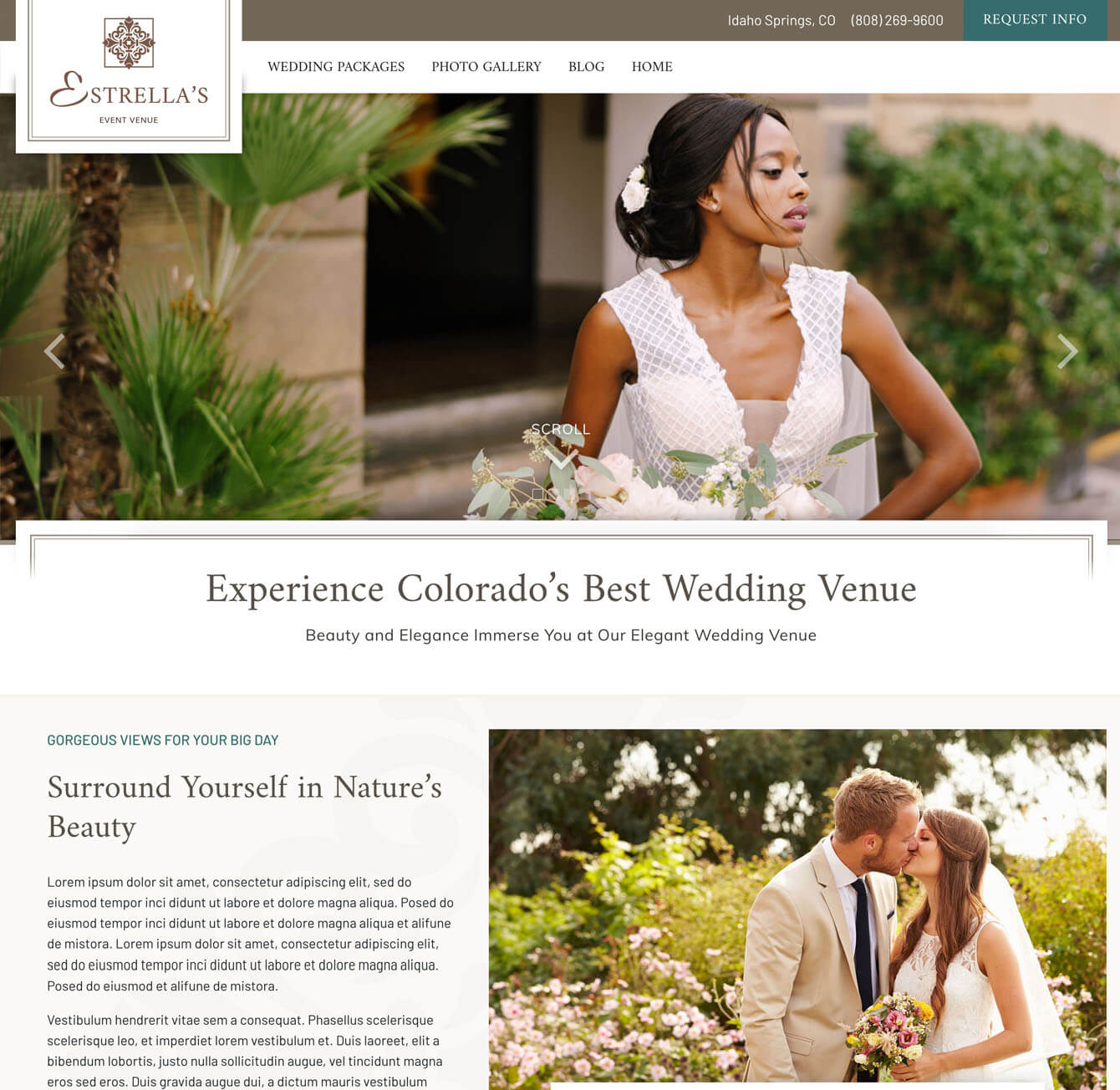 Classic wedding venue website design