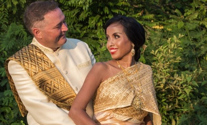 multicultural wedding bride and groom