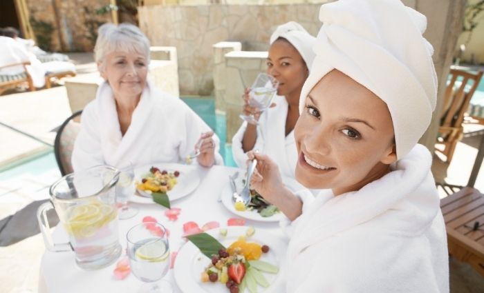 Women enjoying spa day before wedding