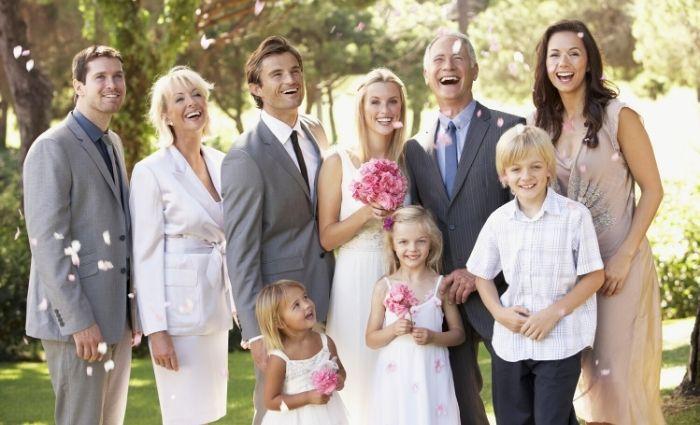 blended step family at wedding celebration