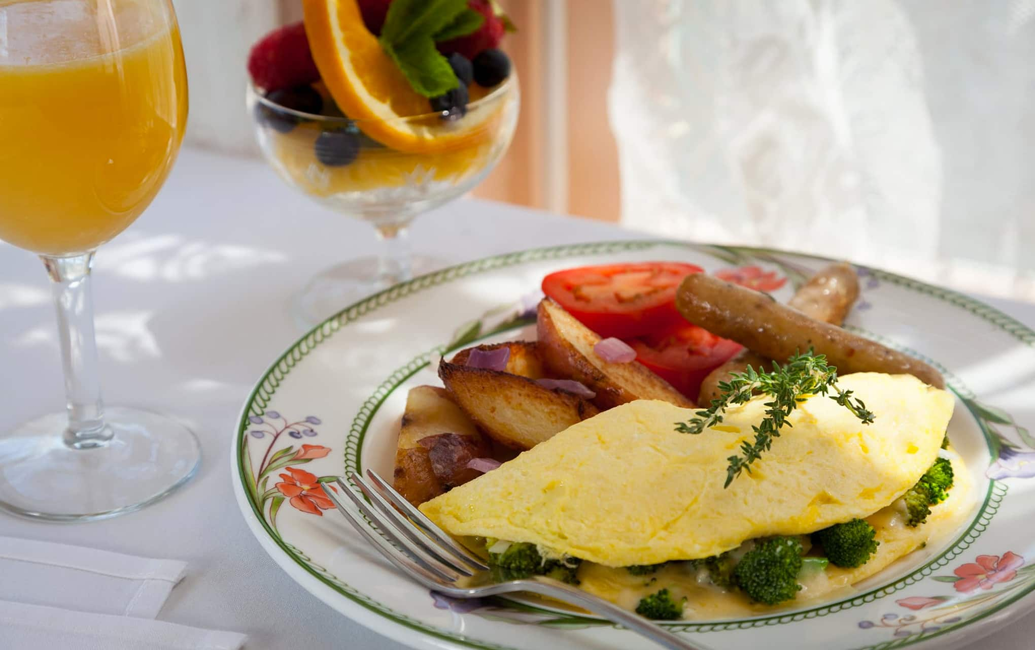 gourmet eggs and fruit at New Hampshire B&B