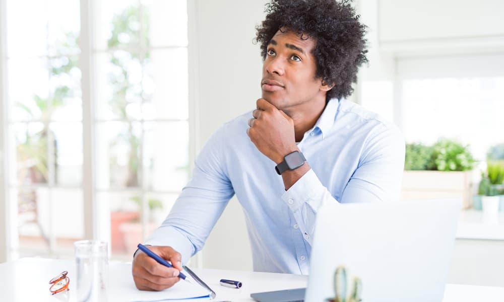 man pondering what his mission statement is