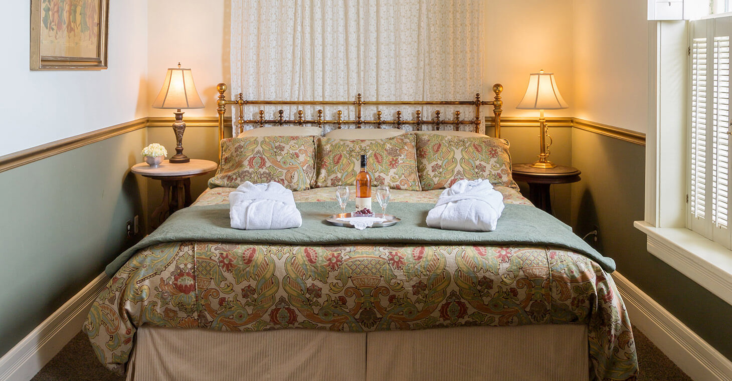 Bottle of Wine on the Bed at Cedarburg, WI Hotel